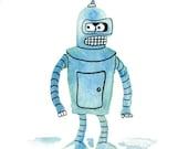 Futurama, Futurama Art, Bender Futurama, Robot, Robot Art, Space Age, Space Art, Futurama Bender, Cartoon Art, Fan Art, Bender