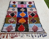 "91""X59"" Vintage Moroccan rug woven using different scraps of used textiles / boucherouite / boucherouette"