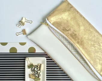 Gold and White Fold Over Clutch