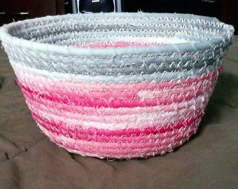 Fabric bowl, blue, grey, pink