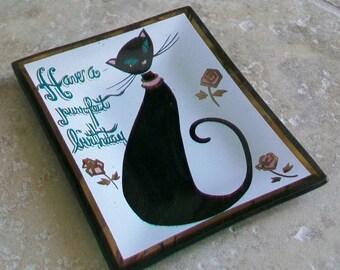 Vintage Have a Purrfect Birthday Houze Art Tray Ashtray Dish USA Humorous