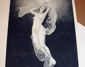 Diana Nude Goddess Nymph Fairy Late 1800s Antique Photogravure Art Nouveau Print 2/3 rds Yardlong Wood Frame Picture Home Decor Wall Hanging