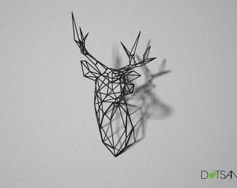 Stag Deer Head  Trophy Large 3D Print Wire Faceted Wall Mounted Sculpture facing left.
