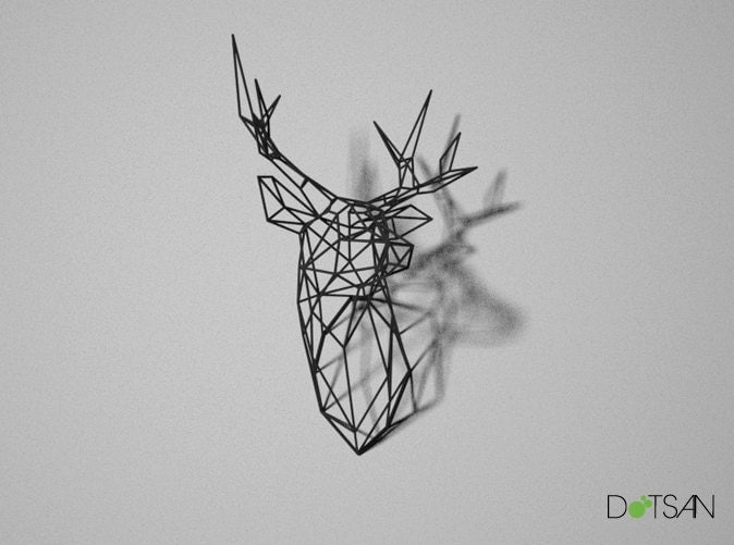 Stag Deer Head Trophy Large 3d Print Wire Faceted Wall