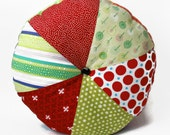 "Red and Green 16"" Handmade Stuffed Circular Wedge Cushion / For the home / Home Decor / Throw Pillow / Floor Pillow / Modern Pillow"