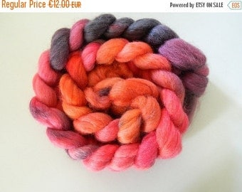 """Combed tops Falkland/nylon hand dyed """"peaches & Berry""""an Wollke7 from the Wollkenschloss"""