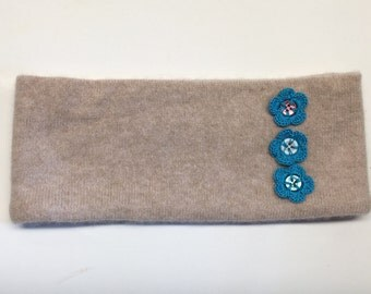 Upcycled Khaki Cashmere Earwarmer Headband with Crochet Button Flowers