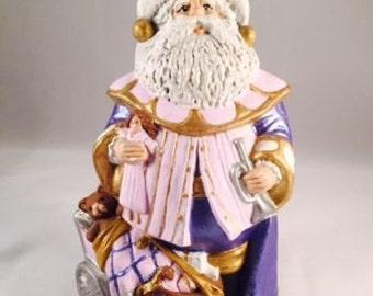 Santa Claus Christmas 1990's Vintage Hand-Painted Ceramic Decoration Holiday