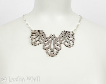 """Laser Cut Leather Necklace """"Falling leaves"""" in Metallic beige-Pewter"""