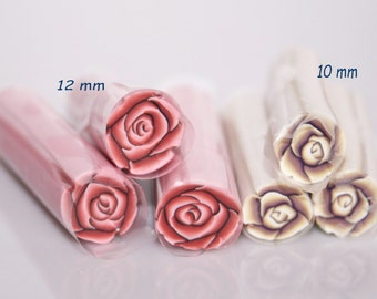 Polymer Cane Roses / Dark Pink or-and Brown beige