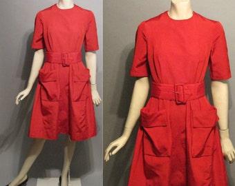 Vintage 1960's Fiery Crimson 60's A-Line Red Taffeta Bombshell Womens Ladies Dress - XS