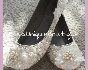 Bridal flats  shoes with lace,crystals  and  pearls