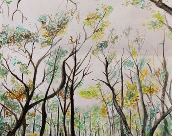 Whimsical Forest Water Color Painting