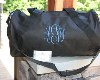 Monogrammed Black Duffel Bag Personalized Gym Embroidered Name Or Initials