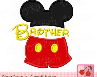 Brother,Big brother,Lil brother, Mouse head,Mickey Applique Design -for 4x4 5x5 6x6 inch-Machine Embroidery Design