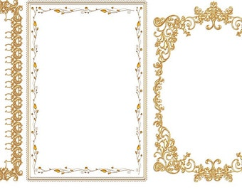 Set of 3 Digital Frames, Photo Frame, Photoshop Template INSTANT Download