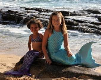 Swimmable Mermaid Tail & Top with Sun Tails Keiki Mermaid Mono Fin for Children