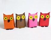 owl paper gift favor box no glue folding 3.5x 2x5 inch -set of 4