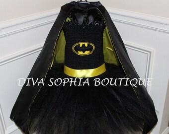 Batman Tutu Dress with Cape / Batgirl Tutu Dress/ Costume