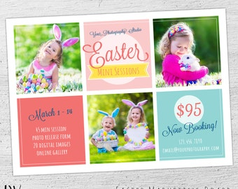 Gift card template easter photography gift certificate easter mini session marketing board photoshop template for photographers photography marketing board easter negle Choice Image