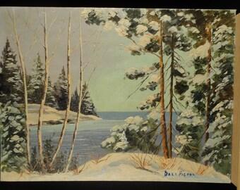 Oil Painting Original Winter Landscape Art Vintage Canadian Plein Air Impressionist Mid Century Trees Snow Georgian Bay Ontario Canada 1953