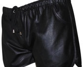 Leather Shorts with Drawstring and elastic Custom Made To Order BSHN014