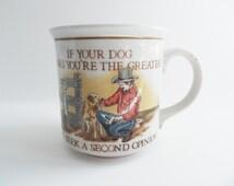 Vintage Figi Graphics Coffee Mug/ Cowboy and His Dog Coffee Mug/ Made in Otagiri Japan/ Collectible Coffee Mug/ Stoneware Coffee Mug