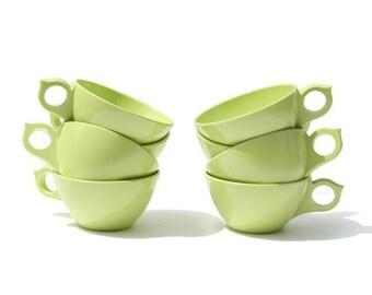 Vintage Green Laguna Melmac Dinnerware Set ~ Melamine Dinnerware Set ~ Floral Dishes