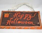 Halloween sign, Happy Halloween wood painted distressed plaque, door hanger