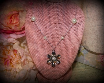 Silver Flower Necklace with Accent Pearl