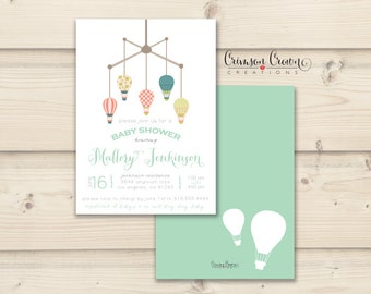 Hot Air Balloon Baby Shower Invitation - Mobile Shower Party Invite - Simple Baby Shower - Digital File