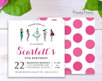 Fashion Designer Child's Birthday Invitation - Baby, Toddler, Kid's Fashionista Birthday Party Invite - Runway Party - Digital File