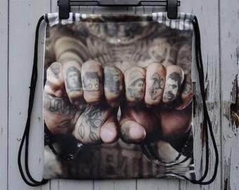 Vintage Tattoo Knuckles Backpack - Bag Gym Handbag Vintage Gangster Alternative