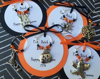 100-200 Custom Halloween Themed Wine Charm Favors - Halloween Party Favors