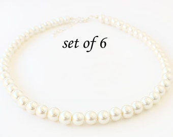 Set of 6 Pearl necklace, wedding necklace, bridesmaid necklace, 10mm pearl necklace, wedding jewelry, wedding gift, bridal party gift