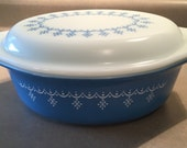 Blue Snowflake Pyrex Casserole Dish with Matching Lid - 1970's