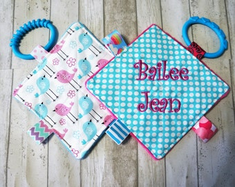 Baby Girl toys, crinkle toys, personalized, set of 2 with teething links.  5 inch squares, babies love these.
