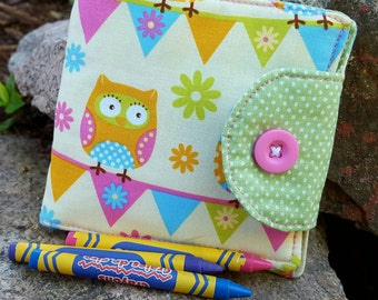 Owl Crayon Wallet, Girl's  Billfold, Crayon Holder