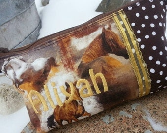 Horse Pencil Case, Personalized Cosmetic Bag