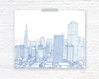 San Francisco City  Illustration Print Wall Art | Phephe Rose