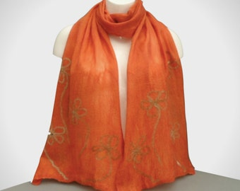 Silk scarf nuno felted with terracotta merino wool with floral design, gift boxed, longer length