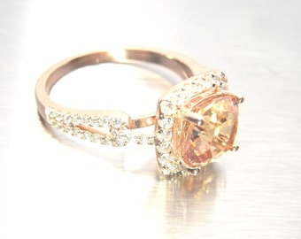 Peach Sapphire 2.45 carat  - 14K gold and 0.44 carat Natural Diamond Halo Engagement Ring