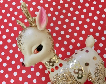 Vintage Plastic Christmas Reindeer, Mid Century Reindeer, Kitschy Christmas Decor, Blow Mold Deer, Vintage Plastic Deer