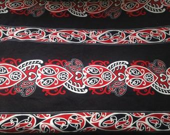 Half Length Maori Print Fringeless Sarong/Pareu Or Pareo