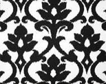 Damask White Black Tempo Fabric - One Yard - Black and White Home Dec Fabric