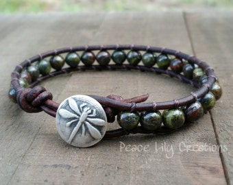 leather and gemstone dragonfly bracelet dragon blood jasper bracelet fine silver earthy bracelet boho bracelet forest bracelet jasper