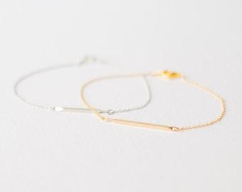 Silver and gold bar bracelets - layering bracelet, friendship bracelet, gift for her