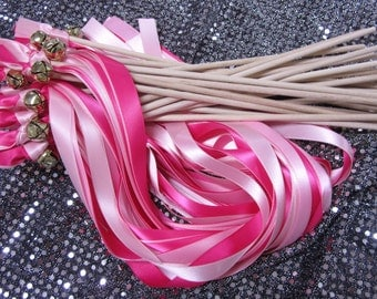 50 Triple Ribbon Wedding Wands With Bell