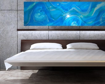 2 metre Resin Art Abstract Painting  FLOAT - ocean water waves blue calm