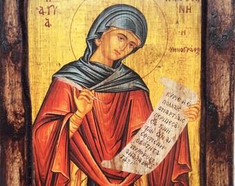 Saint St. Kacciane - Orthodox icon on wood handmade (22.5cm x 17cm)